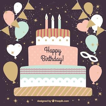 Priorità bassa della torta di compleanno dell'annata con gli aerostati