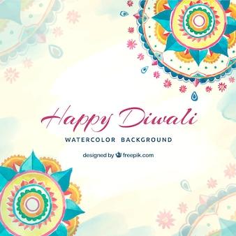 Priorità bassa di Diwali con mandala di acquerello