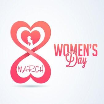 Priorità bassa di giorno delle donne con cuore a forma di numero otto