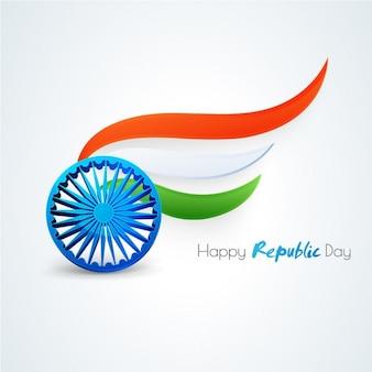 Priorità bassa di giorno repubblica felice con astratto bandiera indiana