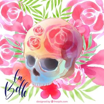 Priorità bassa floreale con il cranio fantastico