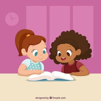 Priorità bassa sveglia dei compagni di classe che leggono insieme