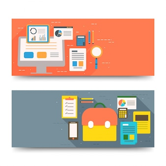 Progettazione di intestazioni o banner di sito web con design infografici.