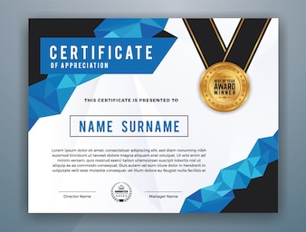 Progetto di certificato professionale multipurpose moderno per la stampa. Illustrazione vettoriale