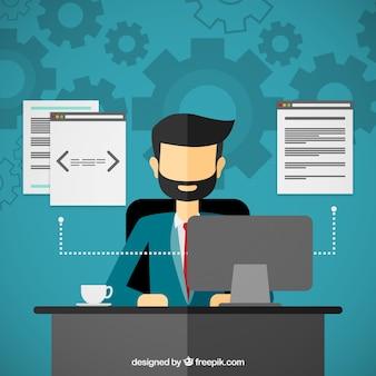 Programmatore di lavoro sul computer