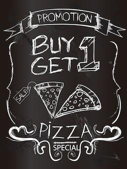 Promozione pizza sulla tavola di gesso