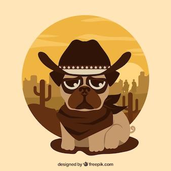 Pug bella con stile cowboy