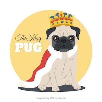Pug carino con costume del re