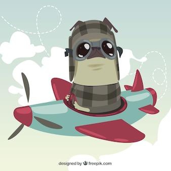 Pug che vola con un aereo