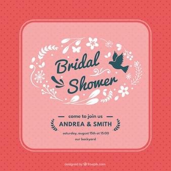 Punteggiato da sposa doccia invito con decorazione floreale