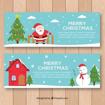 Pupazzo di neve e banner di Babbo Natale