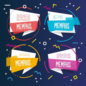 Quattro colorati memphis template