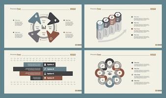 Quattro diagrammi di flusso di lavoro Set di modelli di diapositive