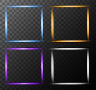 Quattro fotogrammi con luce luminosa
