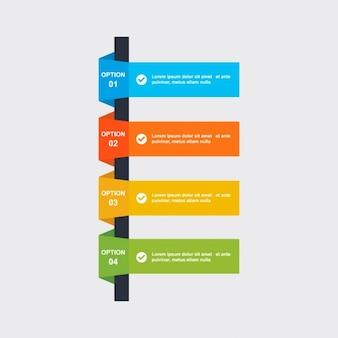 Quattro opzioni di passo infografica di processo