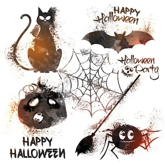 Raccolta acquerello di diversi elementi di Halloween