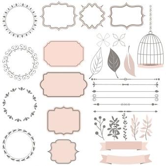 raccolta carino di elementi di decorazione