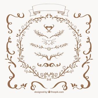 Raccolta dei confini ornamentali floreali
