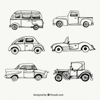 Raccolta dei veicoli d'epoca schizzi