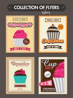Raccolta dei volantini da forno, modelli o carte menu design con illustrazione di dolci deliziosi cupcakes