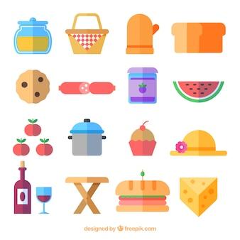 Raccolta delle attrezzature da picnic