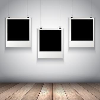 Raccolta di appendere foto in bianco