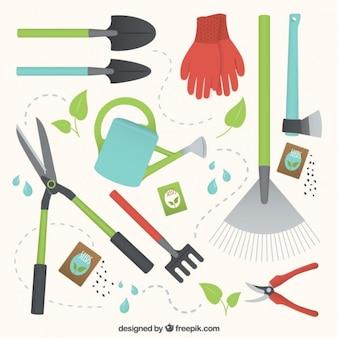 Raccolta di attrezzi da giardinaggio utili