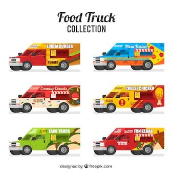 Raccolta di autocarri alimentari con stile moderno