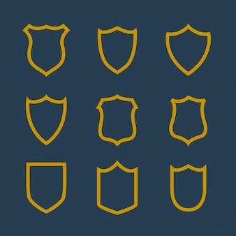 Raccolta di badge simbolo in stile linea