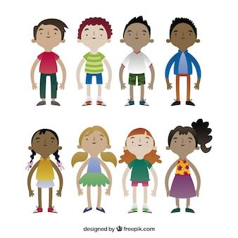 Raccolta di caratteri dei bambini