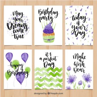 Raccolta di carte di compleanno di acquerello