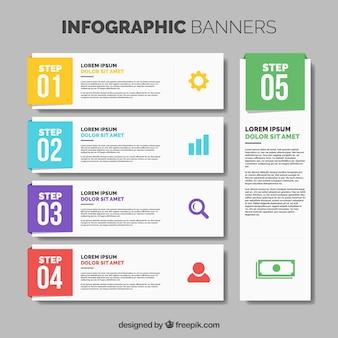 Raccolta di cinque striscioni infographic con dettagli di colore