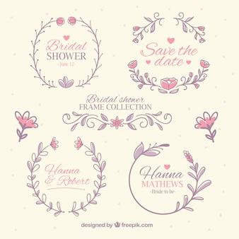 Raccolta di cornici bridal in colori pastello
