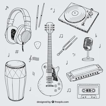 Raccolta di disegnati a mano elementi per uno studio musicale