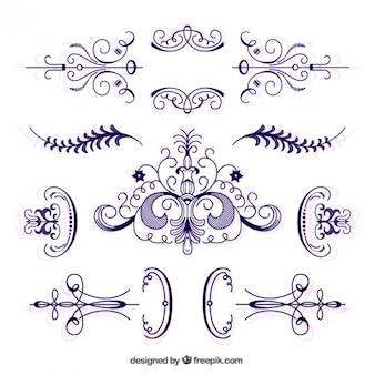 Raccolta di disegnati a mano ornamento vittoriano