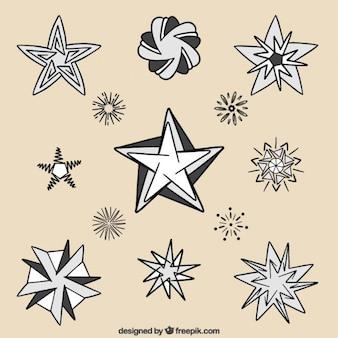 Raccolta di disegnati a mano stelle in diverse forme