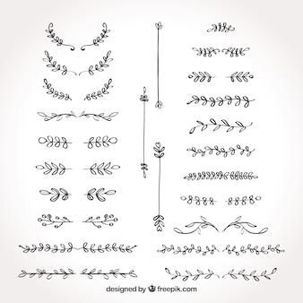 Raccolta di disegni a mano disegnati retrò testo