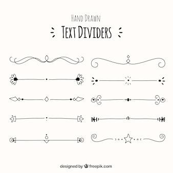 Raccolta di divisori di testo decorativo disegnato a mano