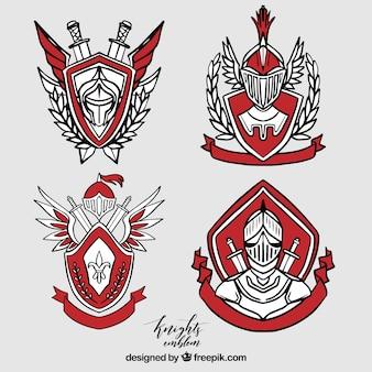 Raccolta di eleganti emblemi cavalieri rossi