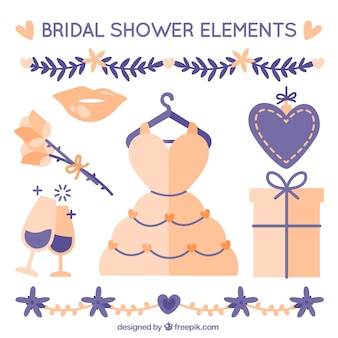 Raccolta di elementi bridal shower con dettagli viola