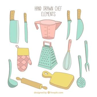 Raccolta di elementi di cucina disegnati a mano