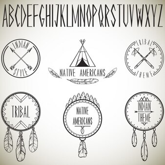 Raccolta di elementi di design tribali e illustrazione vettoriale alfabeto