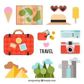 Raccolta di elementi e paesaggi di viaggio estivo in design piatto