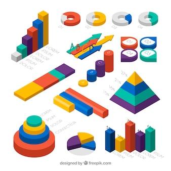 Raccolta di elementi infografici colorati