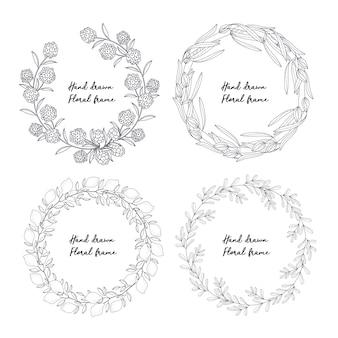 Raccolta di elementi ornamentali florral disegnati a mano
