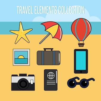 Raccolta di elemento di viaggio estivo