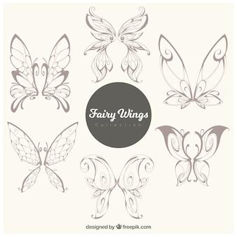 Raccolta di farfalle disegnate a mano