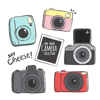 Raccolta di fotocamera disegnata a mano