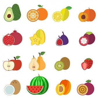 Raccolta di frutti icone