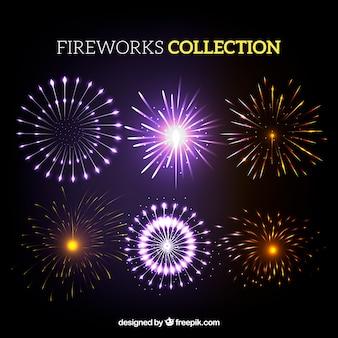 Raccolta di fuoco d'artificio brillante
